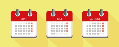 calendar colorfuls set summer vector illustration EPS10