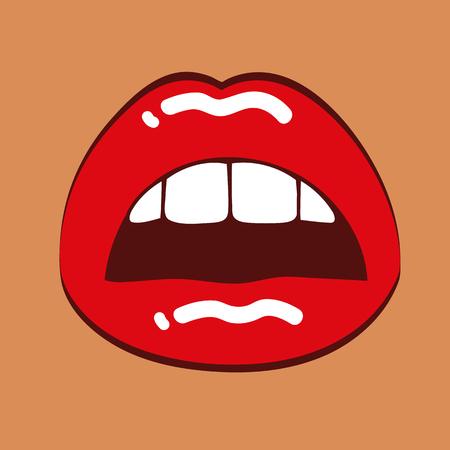 Female sexy red lips vector illustration EPS10 Vettoriali