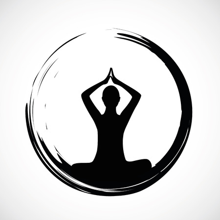 yoga person sitting in a lotus pose in a black circle vector illustration EPS10 Vektorové ilustrace