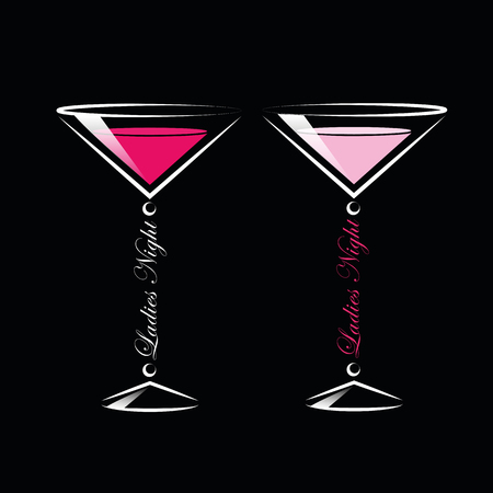 two pink cocktails ladies night vector illustration EPS10 Illustration