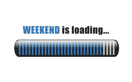 il fine settimana sta caricando l'illustrazione EPS10 di vettore della barra blu