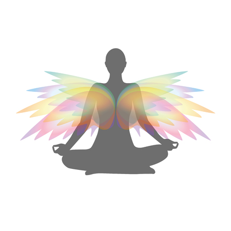 yoga person in a lotus pose with colorful wings vector illustration EPS10