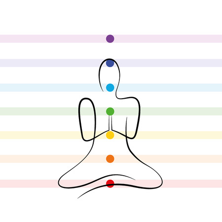 meditation chakra points drawing person vector illustration EPS10 Vettoriali