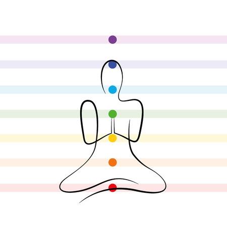 Puntos de chakra de meditación dibujo persona ilustración vectorial EPS10 Ilustración de vector