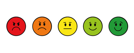 rating smiley faces red to green round vector illustration EPS10