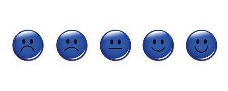 rating smiley faces round blue vector illustration EPS10
