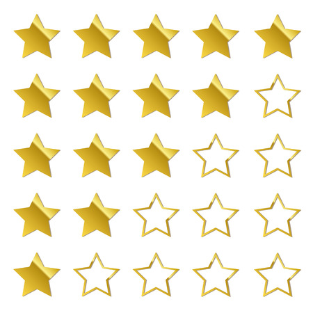 feedback di stelle d'oro impostare illustrazione vettoriale EPS10 Vettoriali