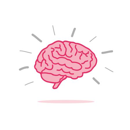 brainstorm pink brain icon vector illustration EPS10
