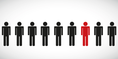 one red special person in a group pictogram vector illustration