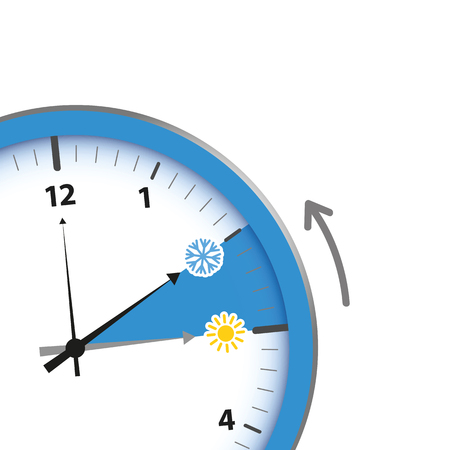 clock switch to winter time sun and snowflake vector illustration EPS10
