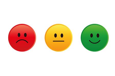 Notation des visages smiley rouge à vert illustration vectorielle EPS10