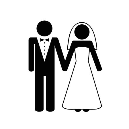 bruidspaar man en vrouw pictogram vectorillustratie EPS10