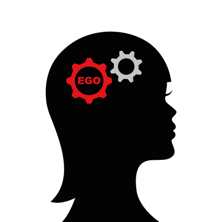woman with ego in his head silhouette vector illustration EPS10