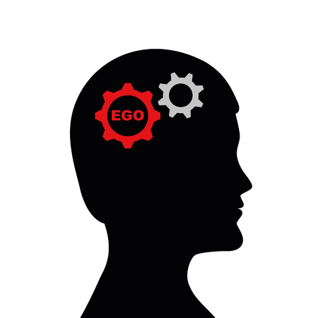 man with ego in his head silhouette vector illustration EPS10 Çizim