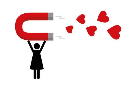 donna che attrae cuori rossi con illustrazione vettoriale magnete EPS10