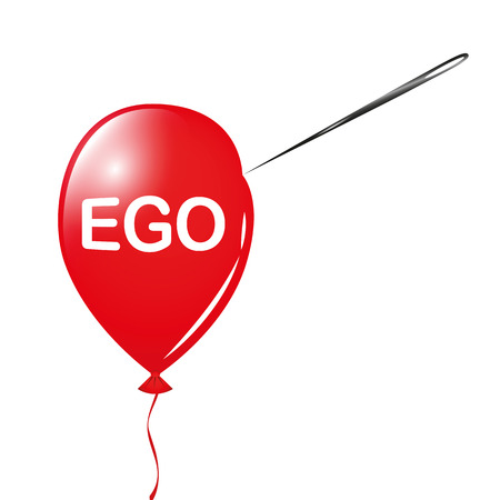 red ego balloon and needle vector illustration EPS10