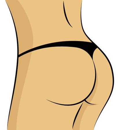 Sexy woman ass black underware vector illustration EPS10
