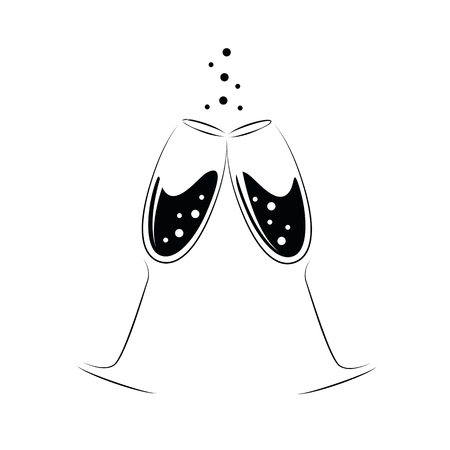 two crystal glasses of champagne black and white vector illustration EPS10 Çizim
