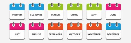 month calendar icon set vector illustration EPS10 Illustration