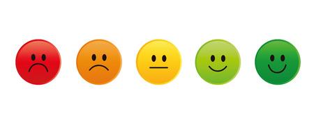 Clasificación de caras sonrientes de rojo a verde ilustración vectorial EPS10