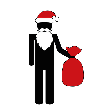 Christmas Santa Claus with gifts pictogram vector illustration EPS10