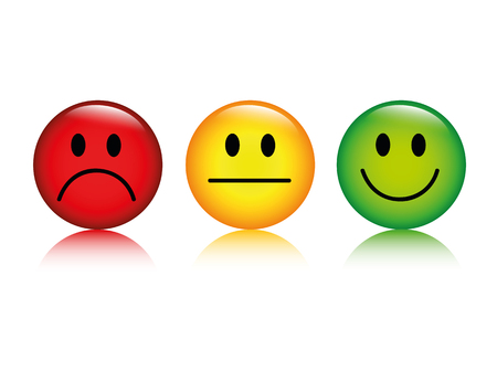 three emoticon smiley rating buttons isolated on white background vector illustration