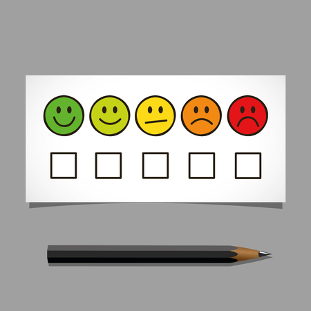 emoticon smiley rating icons and black pen isolated on white background vector illustration