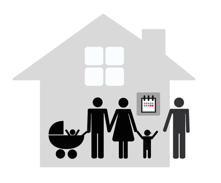 patchwork family concept father pick up his child on the weekend pictogram vector illustration