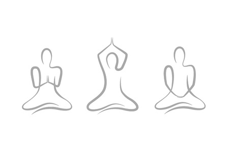 three persons in different meditation pose on white background vector illustration EPS10