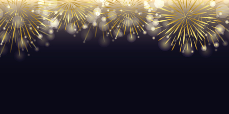 golden firework in the dark night celebration vector illustration EPS10