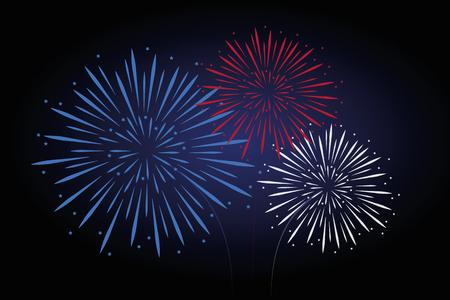 fireworks blue red white colors vector illustration EPS10