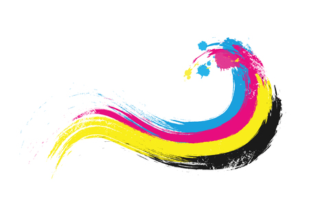 cmyk printing colors wave illustration vector illustration EPS10 向量圖像