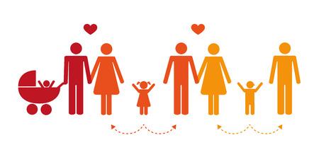 bunte Patchwork-Familienkonzept-Piktogramm-Vektorillustration