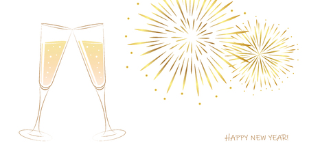 New Year golden fireworks and champagne glasses on a white background vector illustration EPS10
