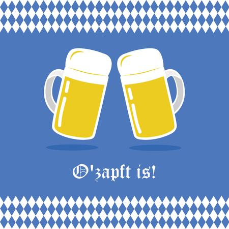 Oktoberfest celebration with beer and bavaria flag background Ilustração