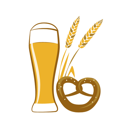 a glass wheat beer and pretzel isolated on a white background vector illustration EPS10