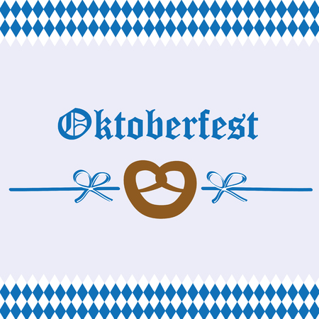 Oktoberfest celebration pretzel bavaria flag background Illustration