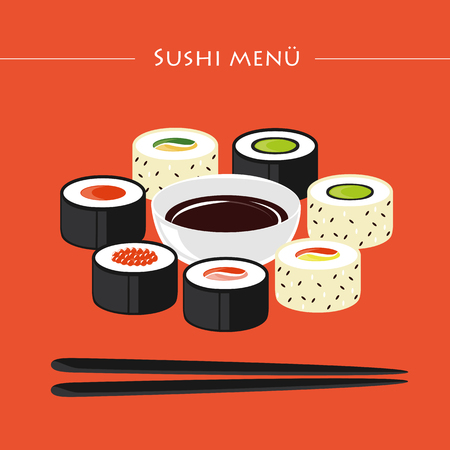 sushi menu set of different types with chopsticks and soy sauce vector illustration EPS10