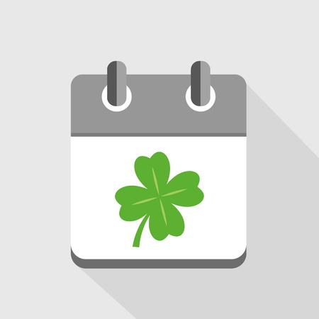 four-leaf green clover in a calendar vector illustration EPS10