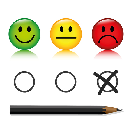 emoticon smiley rating set with pen unhappy isolated on white background vector illustration
