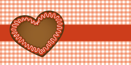 gingerbread heart on red checkered tablecloth vector illustration EPS10
