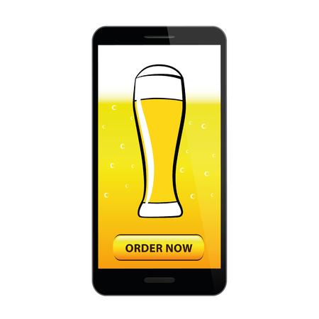 order beer online with a smartphone vector illustration EPS10