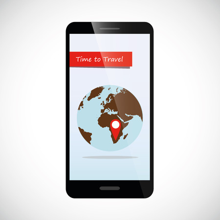 travel online from smartphone with globe and destination pin Vectores