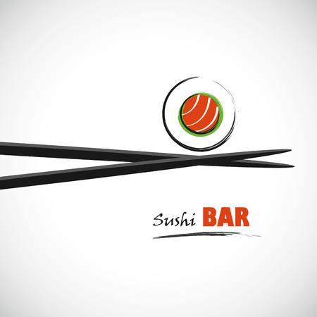 sushi bar with salmon line drawing  イラスト・ベクター素材