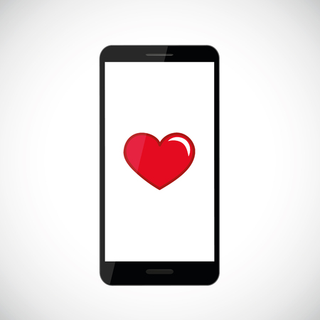 red heart icon in black smartphone vector illustration EPS10