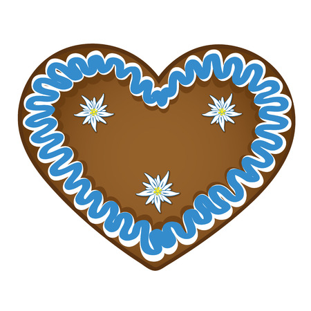gingerbread heart blue white with edelweiss decoration vector illustration EPS10