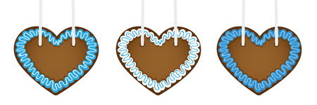 set of three gingerbread hearts in different blue colors vector illustration EPS10  イラスト・ベクター素材