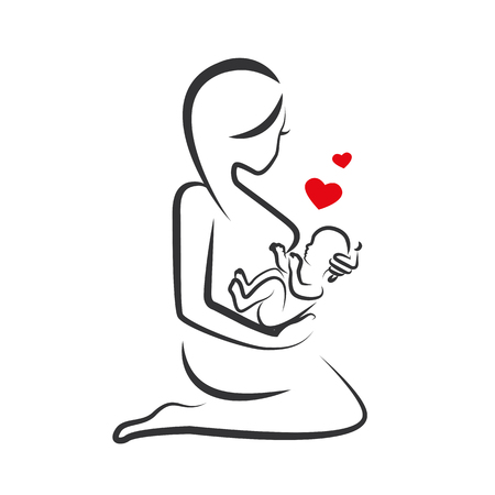 drawing linear beautiful woman with baby in her arm