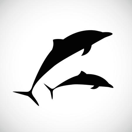 two dolphins jumps silhouette vector illustration EPS10 Ilustração