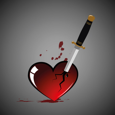 broken heart with blood and dagger Vectores